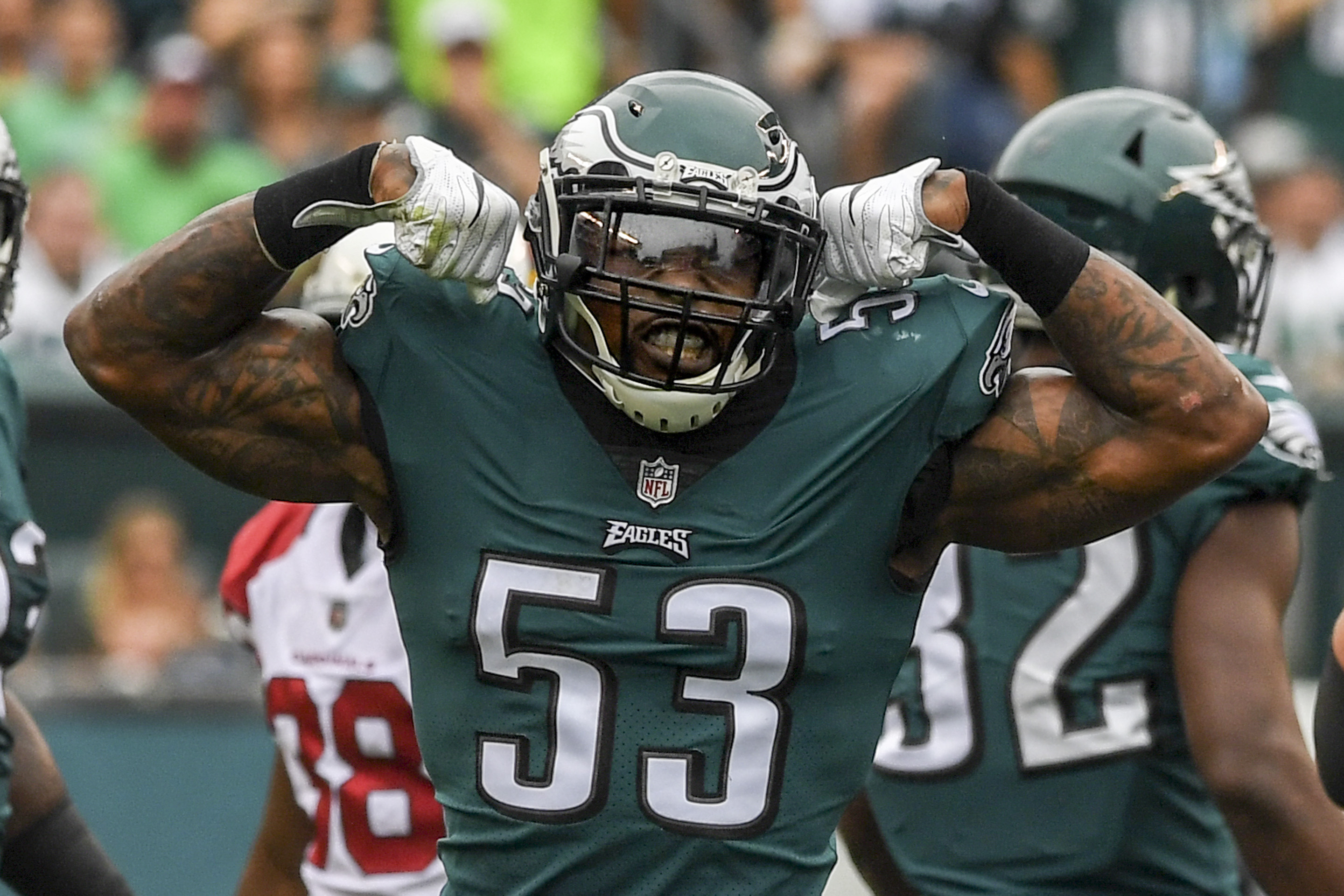Nigel Bradham and his fellow Eagle defenders are wary of Seattle quarterback Russell Wilson.  CLEM MURRAY / Staff Photographer