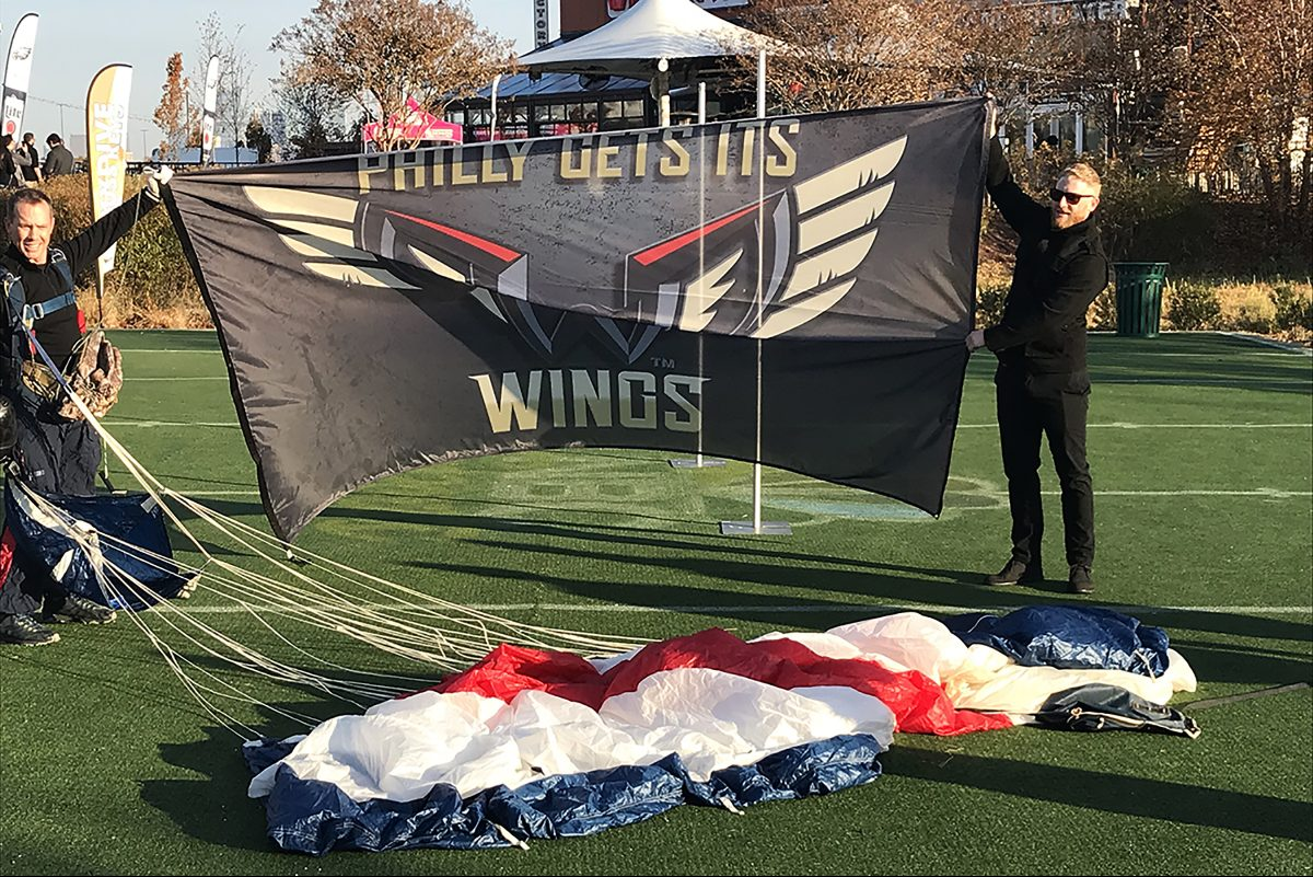 The logo of the Philadelphia Wings, a new team in the National Lacrosse League, is revealed Wednesday morning.
