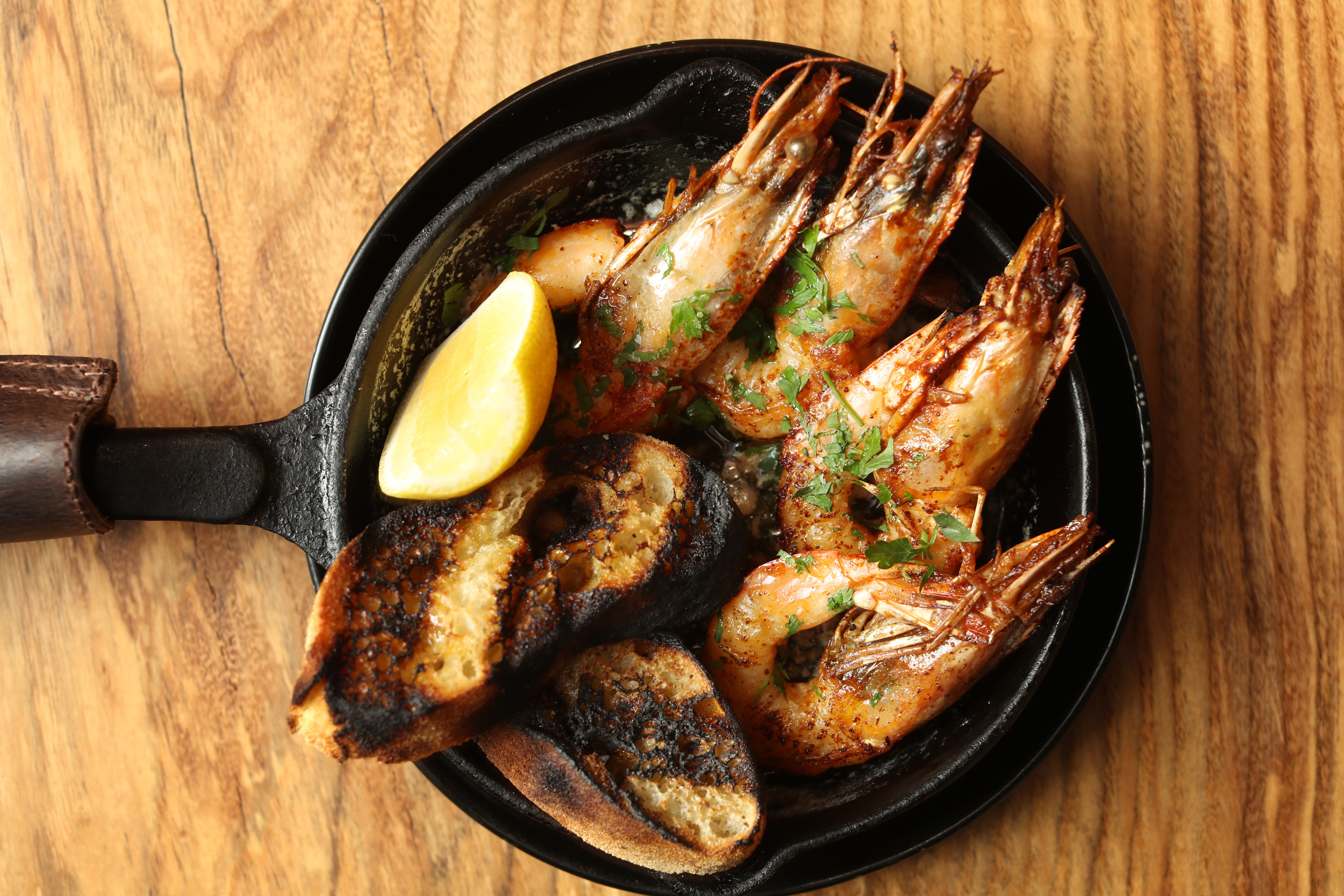 The wood-roasted prawns at Hearthside.
