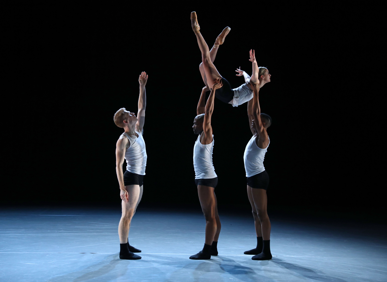"BalletX dancers Daniel Mayo, Gary W. Jeter II, Roderick Phifer, and Skyler Lubin (in lift) in Nicolo Fonte´s ""Beautiful Decay"" (BILL HEBERT)"