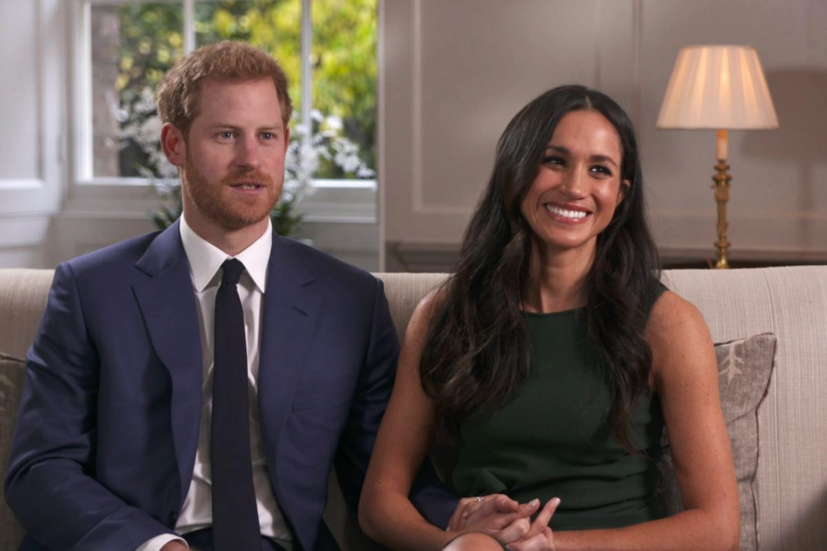 In this photo taken from video Britain´s Prince Harry and Meghan Markle talk about their engagement during an interview in London, Monday, Nov. 27, 2017. It was announced Monday that Prince Harry, fifth in line for the British throne, will marry American actress Meghan Markle in the spring, confirming months of rumors. (Pool via AP)