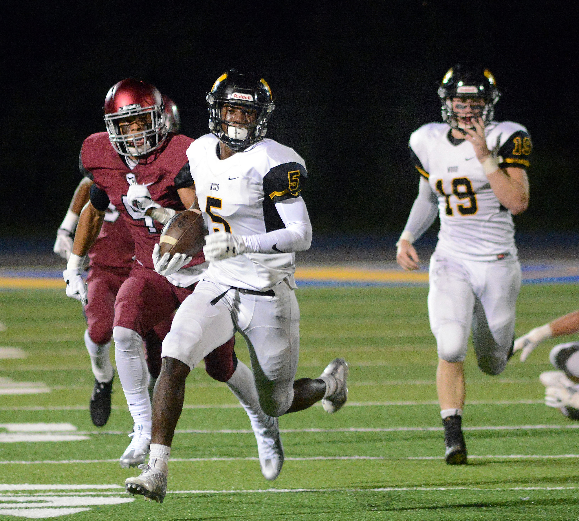Archbishop Wood´s Nasir Peoples (5) has rushed for 1,427 yards and 22 scores.