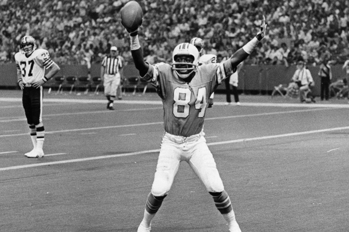 Houston Oilers Billy 'White Shoes' Johnson doing one of his many end-zone dances after a return for a touchdown.