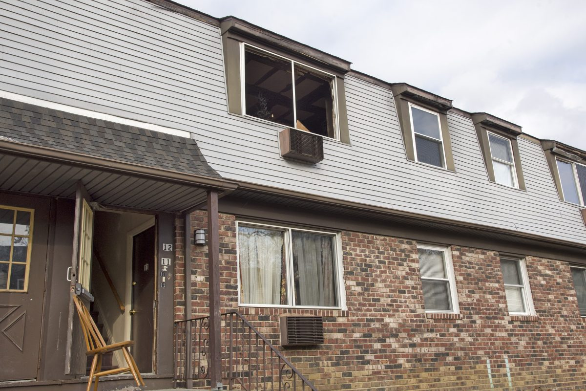 The Blackwood Falls apartments in Gloucester Township Sunday, where a man was killed and a woman and 10-year-old child were severely burned in an early morning fire.