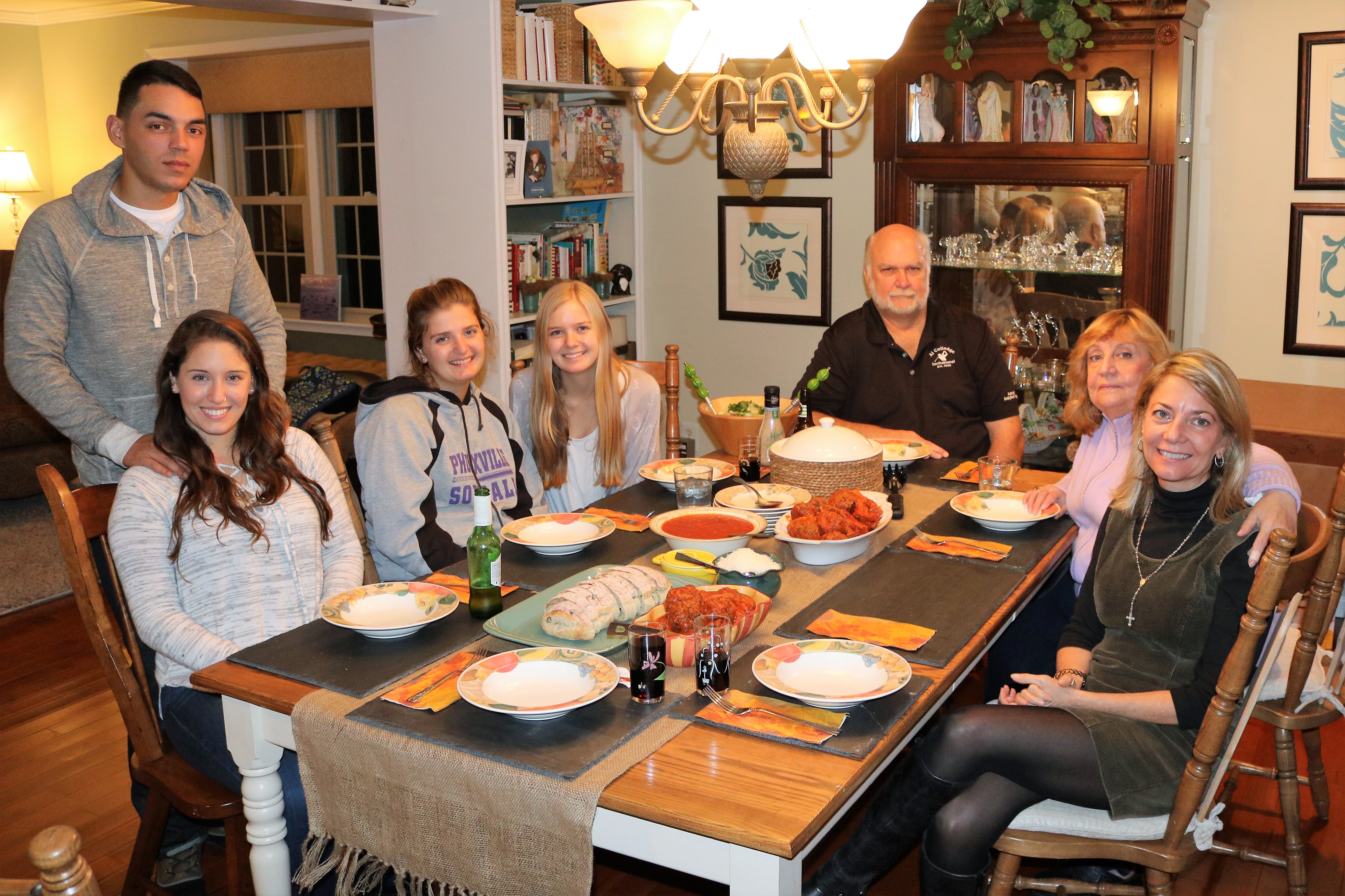 Denise Teter snapped this photo of her family preparing to enjoy the Thanksgiving feast she prepared, but couldn´t eat herself.