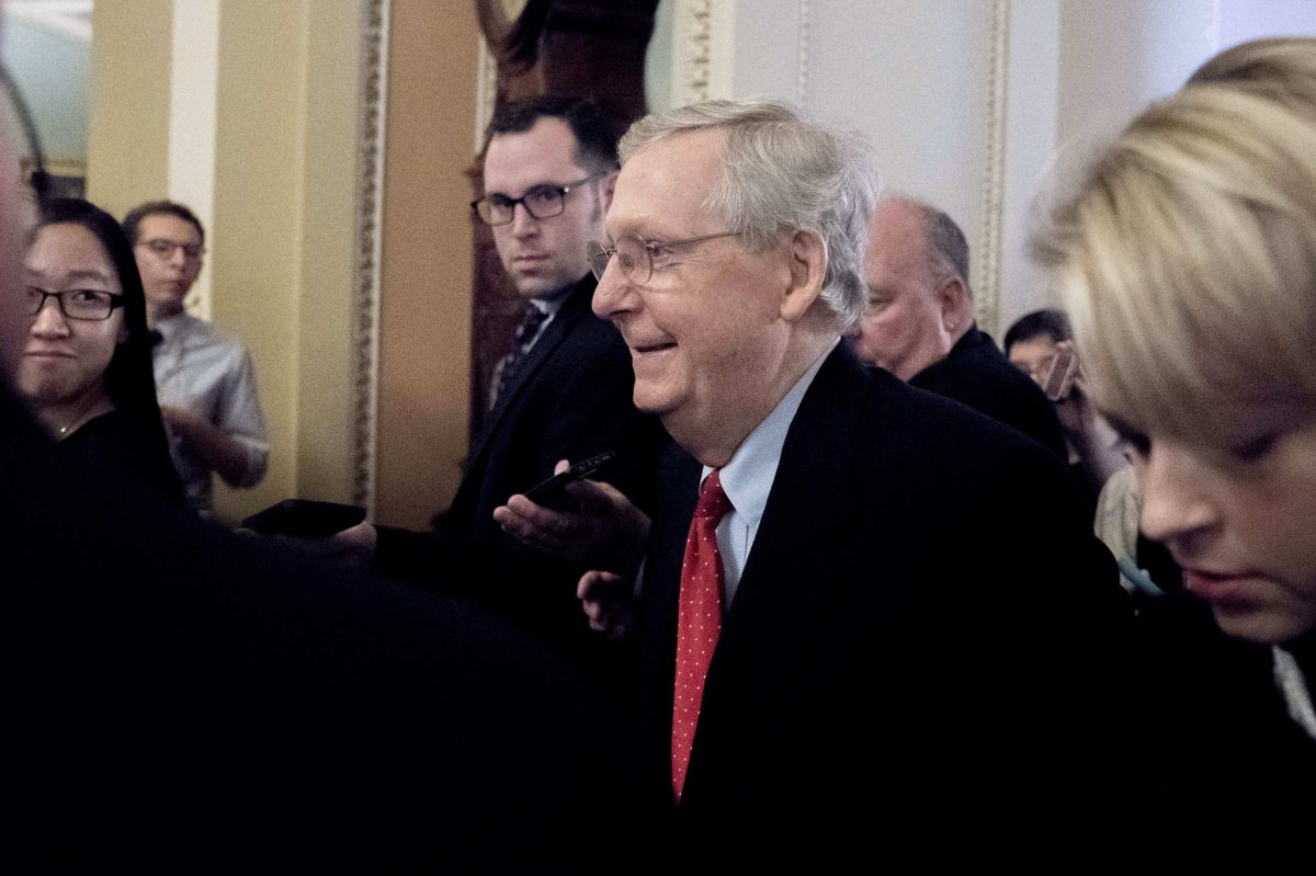 Majority Leader Mitch McConnell hours before the Senate passed sweeping tax reform with no Democratic votes early Saturday morning.