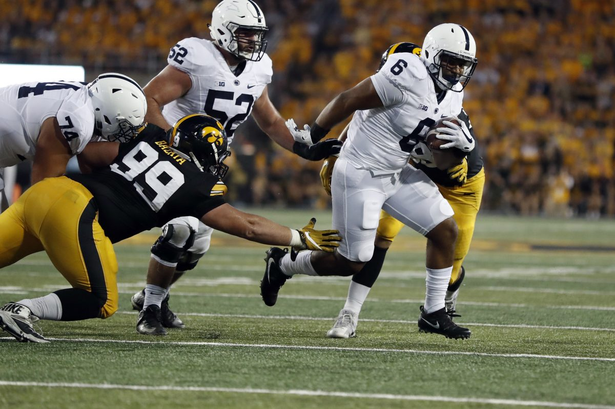 Penn State running back Andre Robinson (6)  had nine rushing attempts this season. (AP Photo/Jeff Roberson)