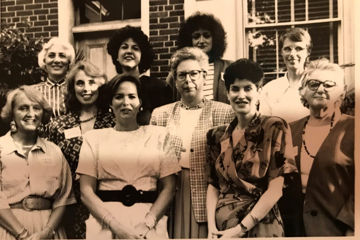 Members of the Forum of Executive Women line up for a group photo in the 1980s. Forum officials couldn´t identify all the women, but among the six women in the front row are Donna Brennan, Stephanie Naidoff, and Linda McAleer. Among the four Forum members in the back row are Rosemary Greco and Jane Pepper.