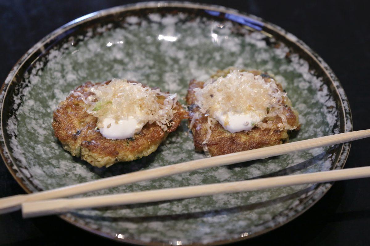 Potato latkes with scallions, garnished with miso crème fraiche and bonito at Cheu Fishtown.