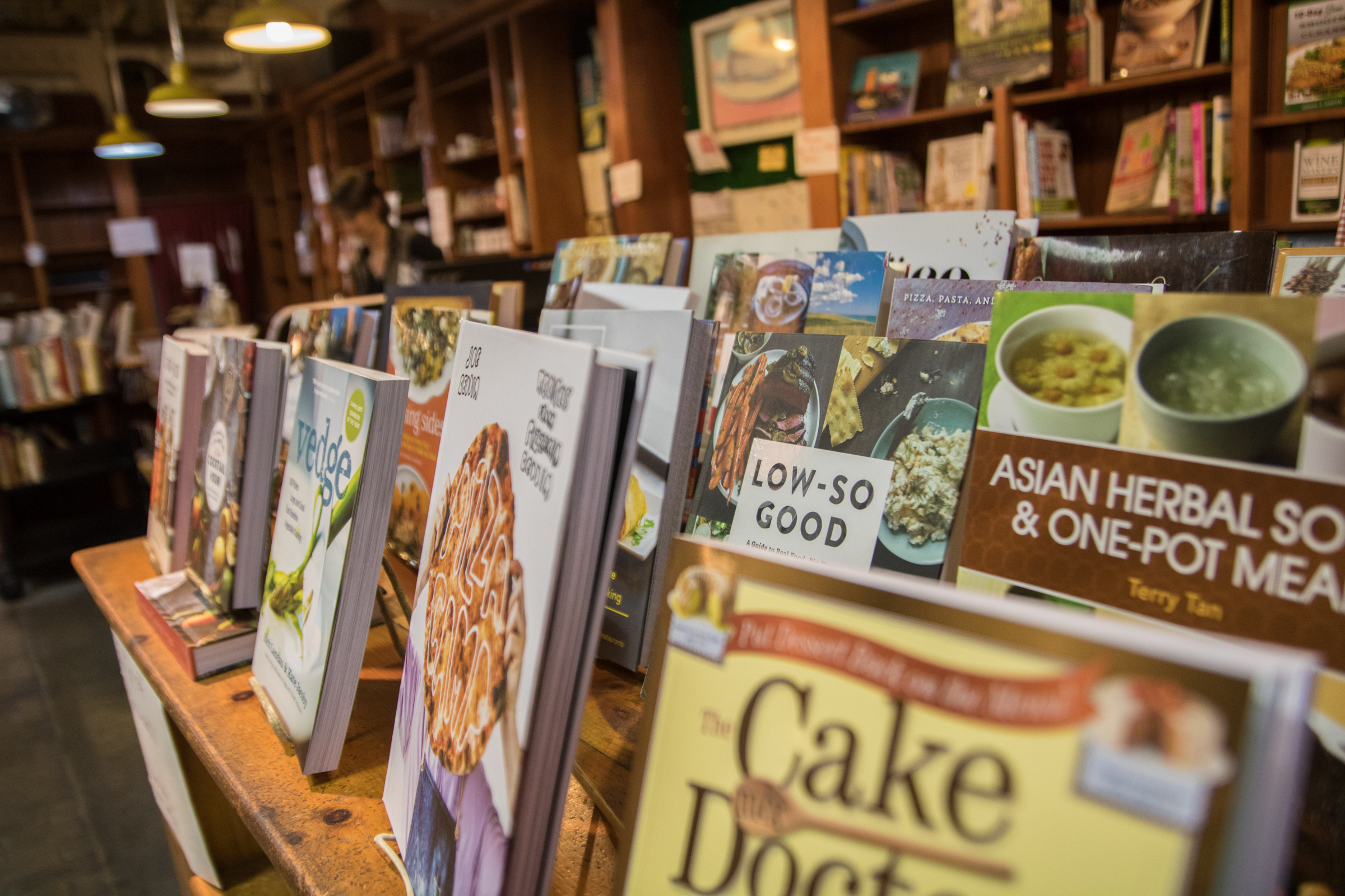 Cookbooks sit on display in The Cook Book Stall in the Reading Terminal Market.