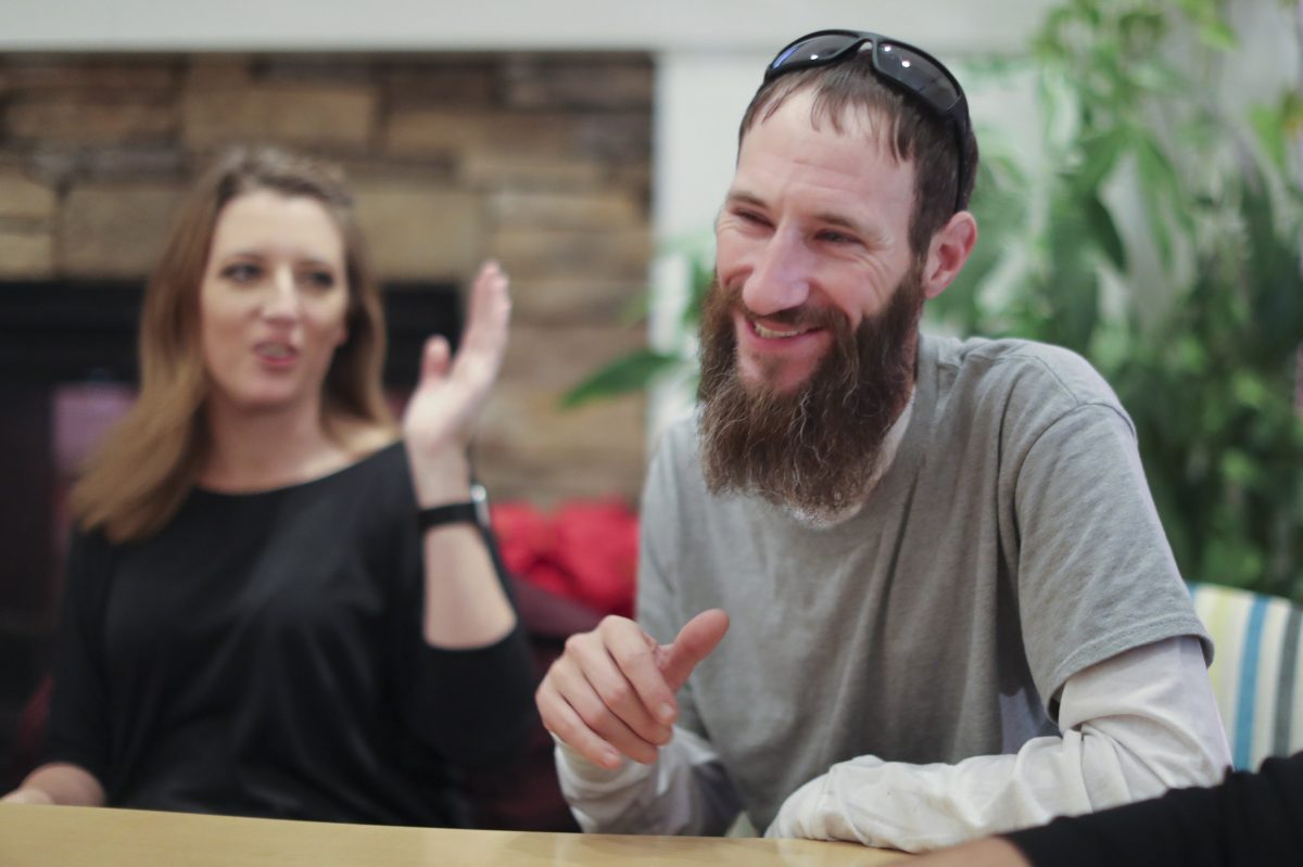 Johnny Bobbitt is turning his life around through the donations of others. At left is Kate McClure, 27, a young woman that set up a GoFundMe account to help Bobbitt out after he came to her assistance after she ran out of gas.