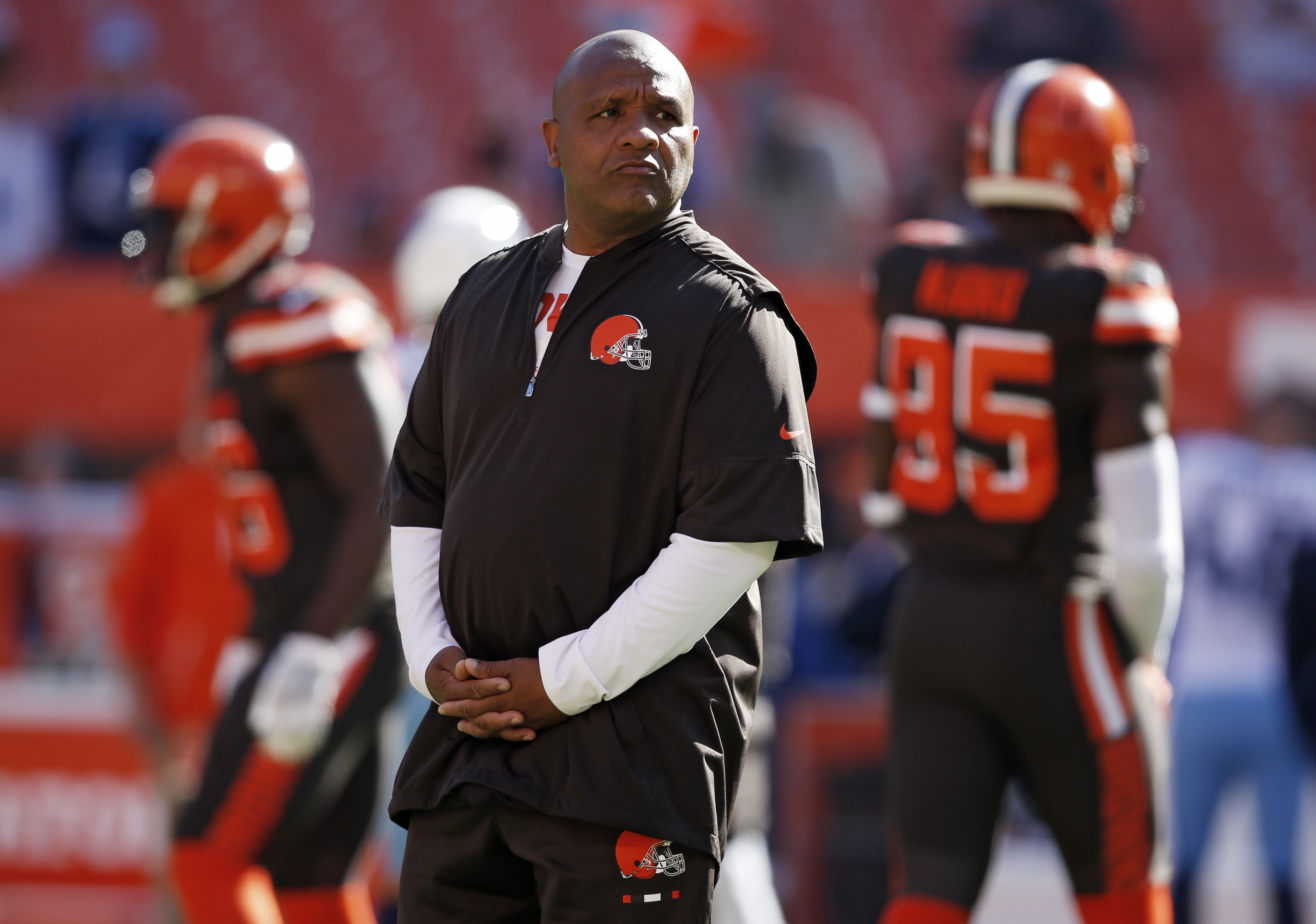 Browns head coach Hue Jacksons job supposedly is safe even though Cleveland has lost 27 of the last 28 games. Ron Schwane / AP).