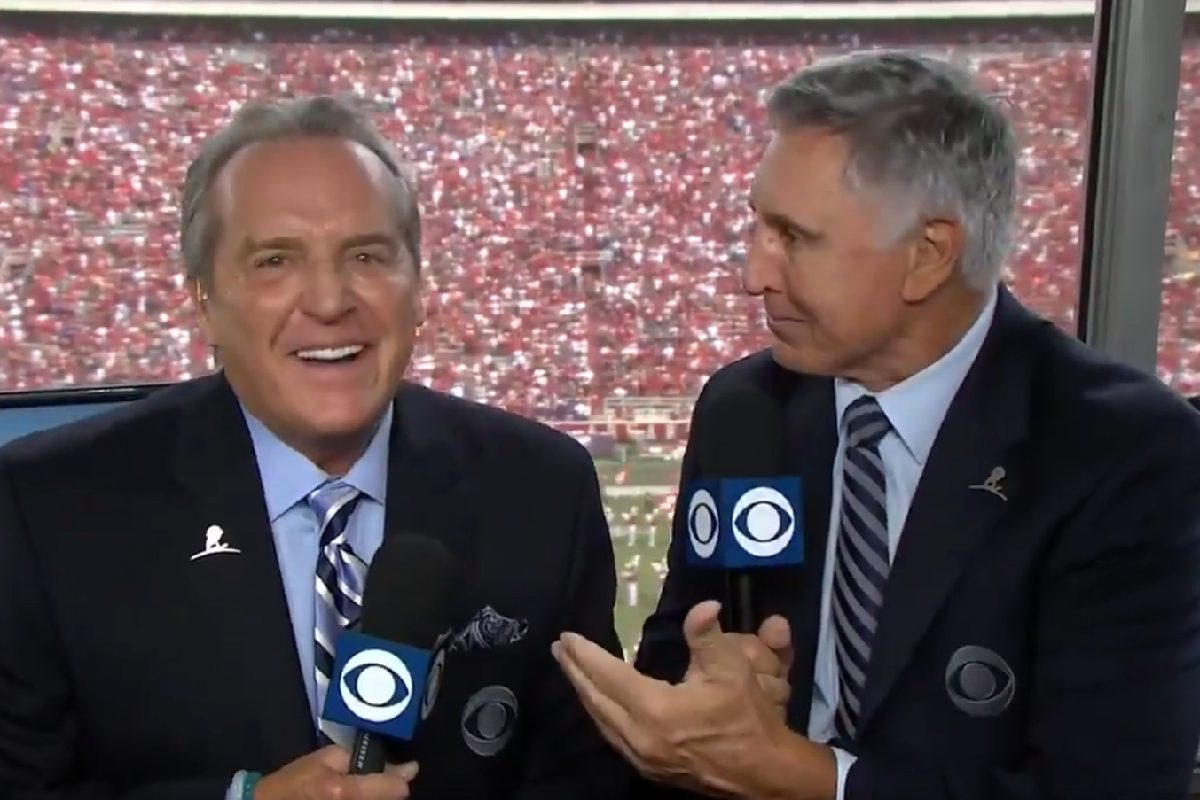 Brad Nessler (left) jokes with analyst Gary Danielson during his first broadcast for CBS after taking over for Hall of Famer Verne Lundquist.