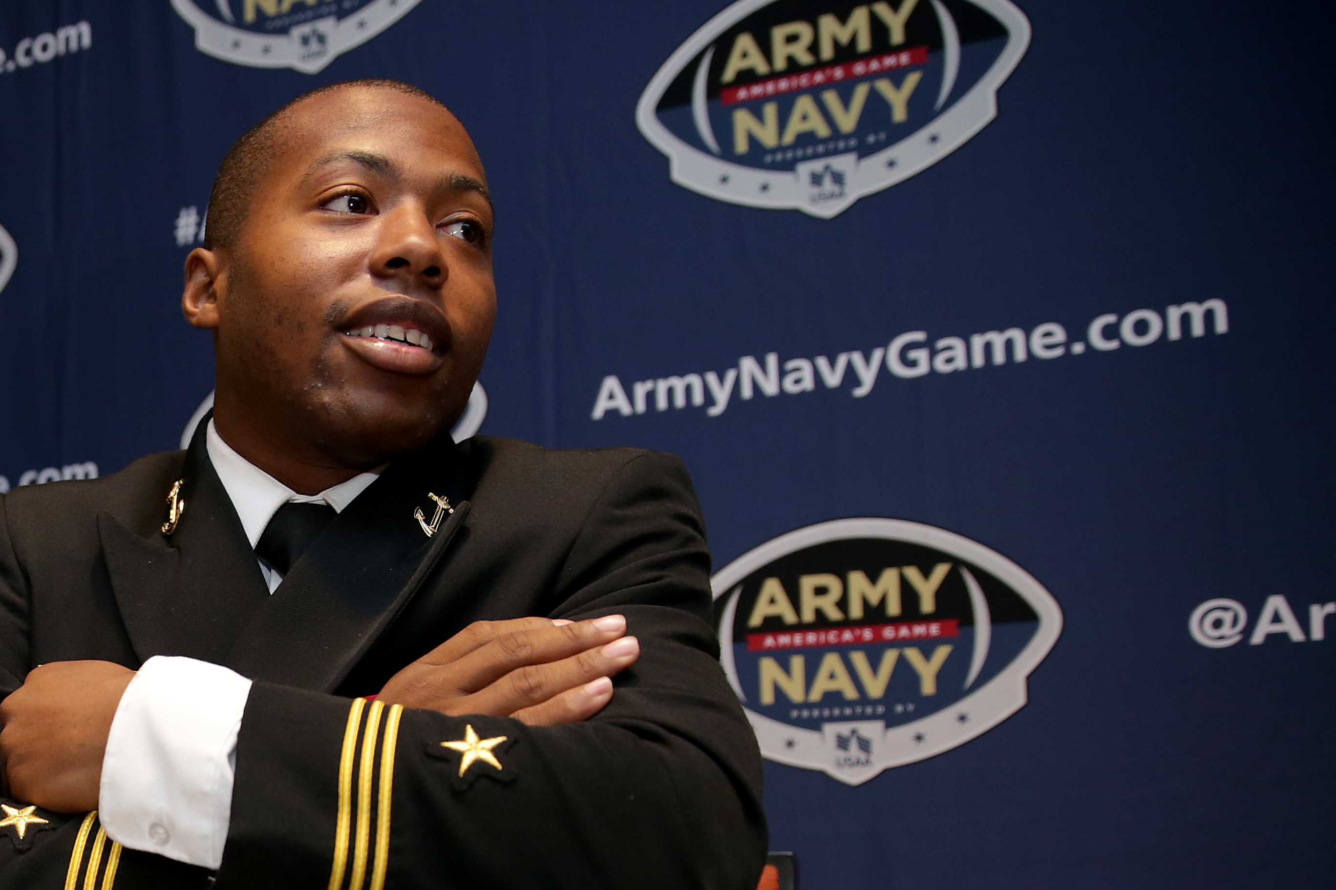 Navy's Darryl Bonner. talking during the Army-Navy press event at Lincoln Financial Field on Nov. 29.