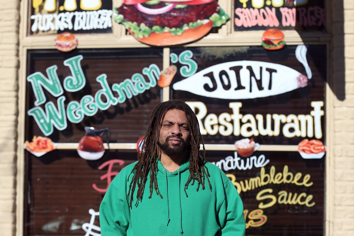 "Ed ""NJ Weedman"" Forchion outside his Trenton, N.J., restaurant  on Jan. 18, 2016.  A drug bust at the restaurant has thrown the longtime marijuana legalization activist in jail."
