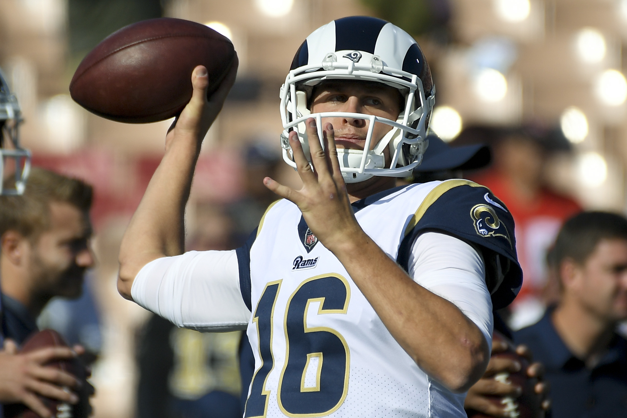 Jared Goff warms up before a game against the Saints in November.