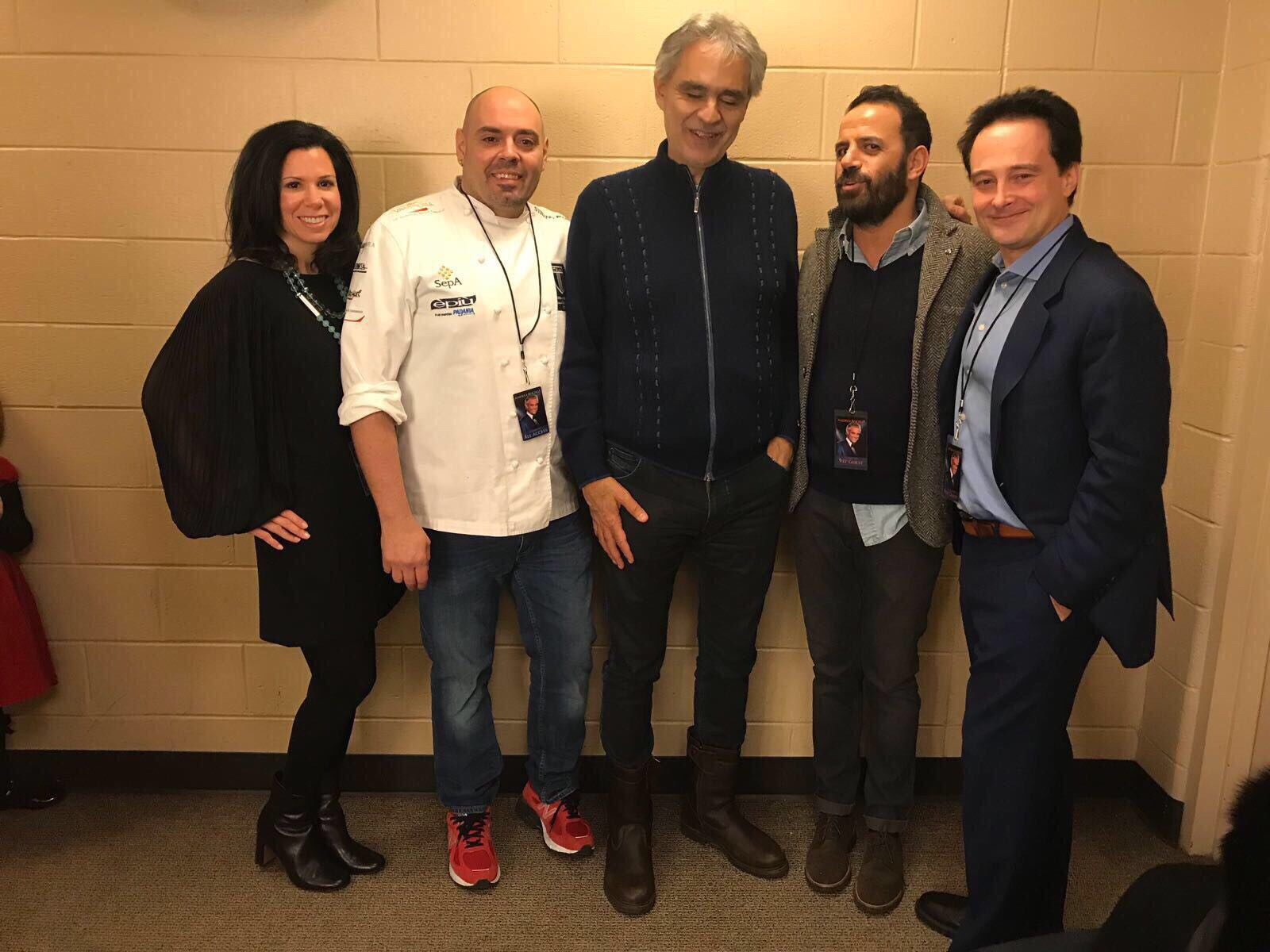 Andrea Bocelli (center) in his his Wells Fargo Center dressing room with (from left) Dawn Tancredi Longo and Gran Caffe L´Aquila owners Stefano Biasini, Michele Morello, and Riccardo Longo.