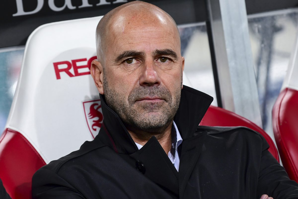 FILE - In this Nov. 17, 2017 file photo Dortmund´s coach Peter Bosz sitting on the bench before the German Bundesliga soccer match between VfB Stuttgart and Borussia Dortmund in the Mercedes Benz Arena in Stuttgart, Germany. Dortmund will face Schalke 04 in a derby, Saturday Nov. 25. (Sebastian Gollnow/dpa via AP)