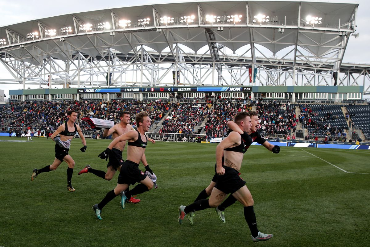 Stanford´s Sam Werner, second from right, celebrates his game winning goal as Stanford University defeats Indiana University in overtime to win the 2017 NCAA men´s soccer national championship game at Talen Energy Stadium.