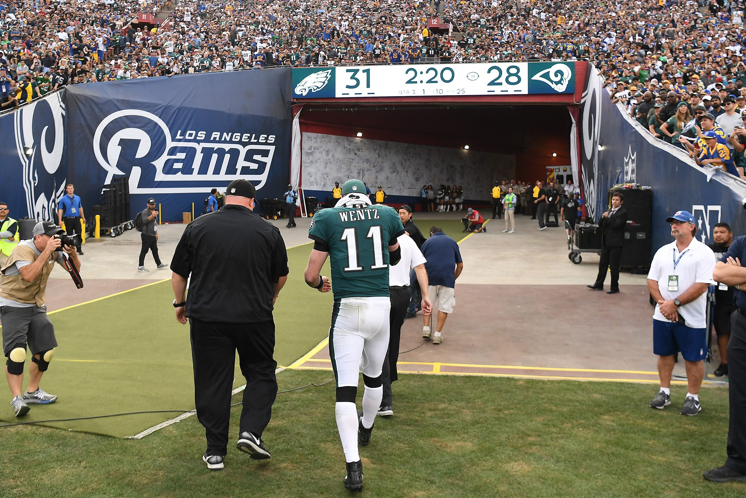 Philadelphia Eagles quarterback Carson Wentz walks off the field after injuring his leg against the Los Angeles Rams on Sunday, Dec. 10, 2017 at the Coliseum in Los Angeles, Calif. (Wally Skalij/Los Angeles Times/TNS)
