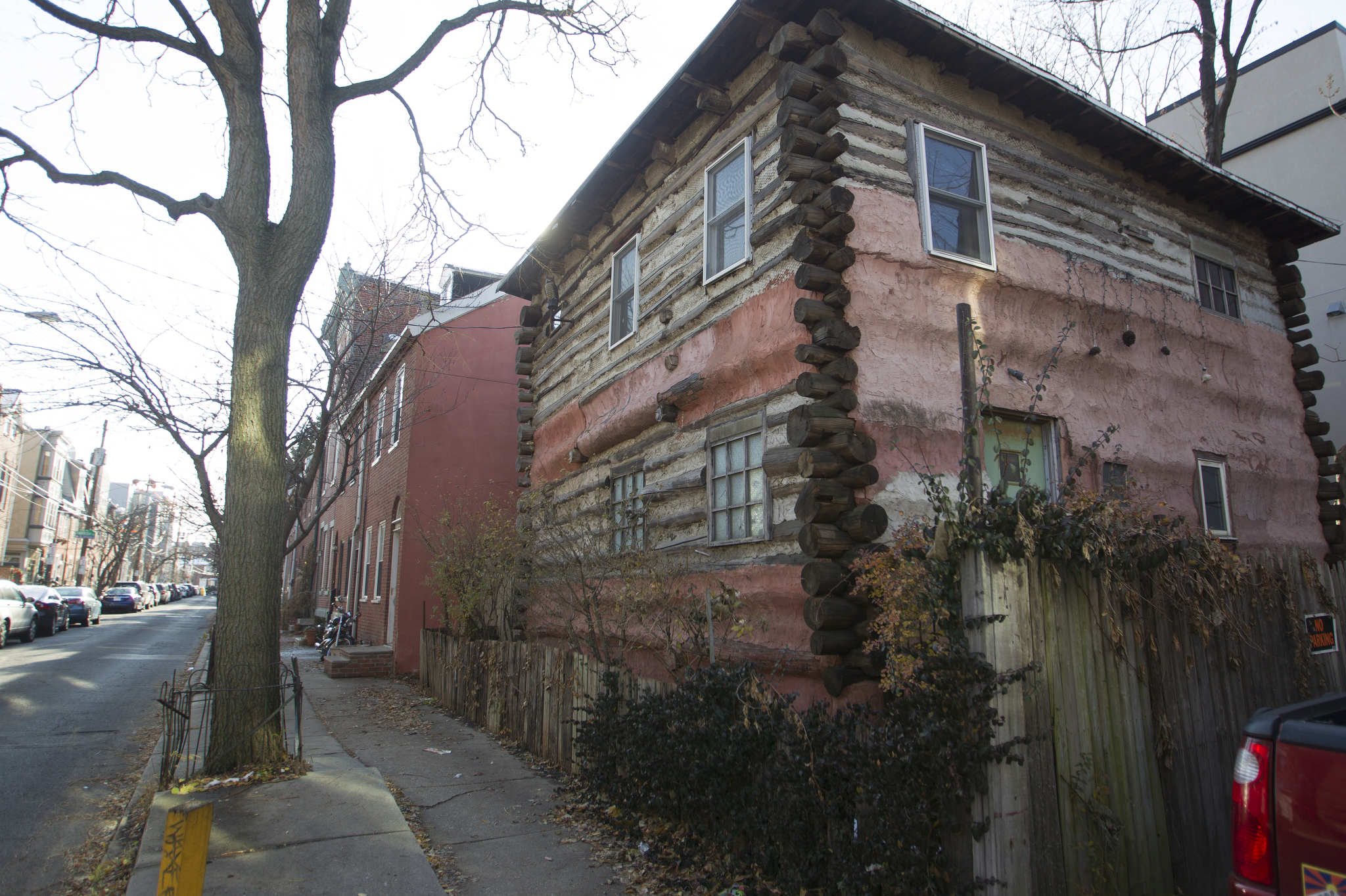 Jeff Thomas built his log cabin in the middle of Northern Liberties in the 1980s between recently built brick row houses.