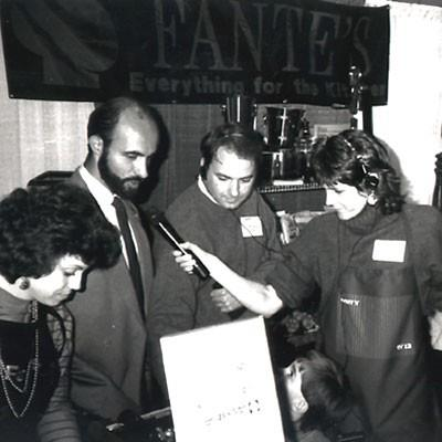 Marty Moss-Coane (far right) reporting in the 1980s. (Courtesy WHYY)