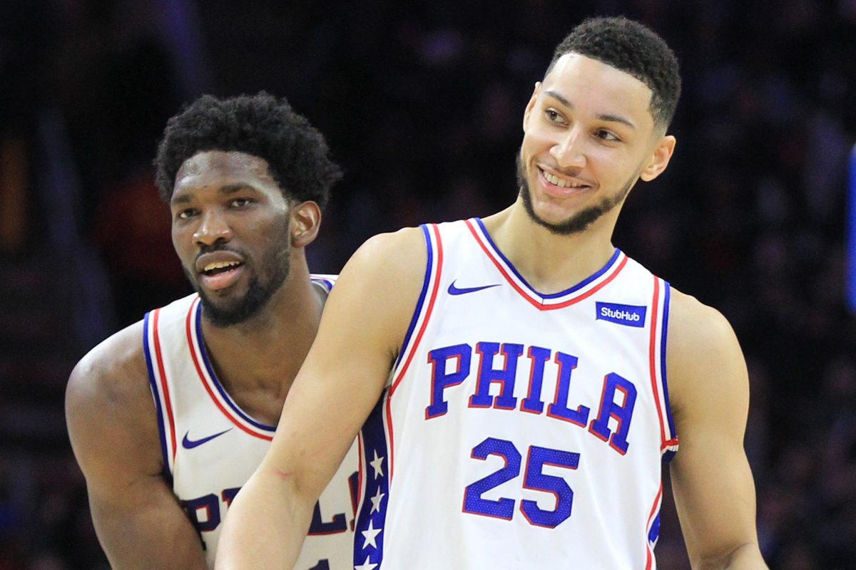 Sixers' stars Joel Embiid (left) and Ben Simmons will feature heavily in ESPN's plans to offer blanket coverage of the team ahead of Friday night's game against the Thunder.