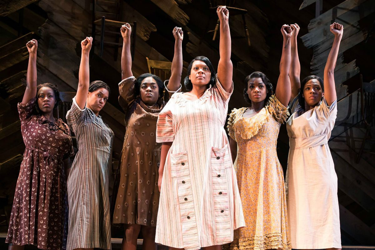 "Carrie Compere (center) and the cast of ""The Color Purple,"" Dec. 12-17 at the Forrest Theatre."
