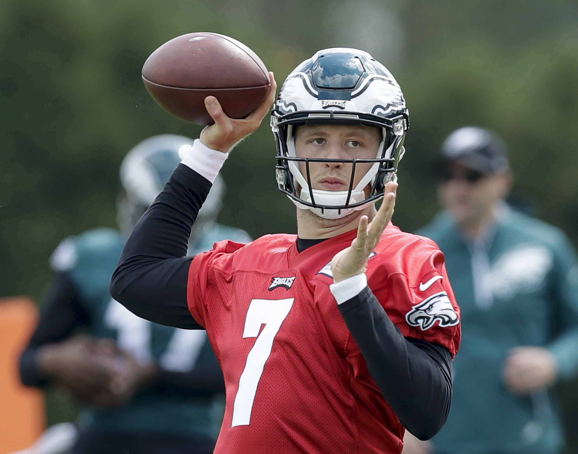 Nate Sudfeld throws during a September practice, when the Eagles never expected him to be playing this season.