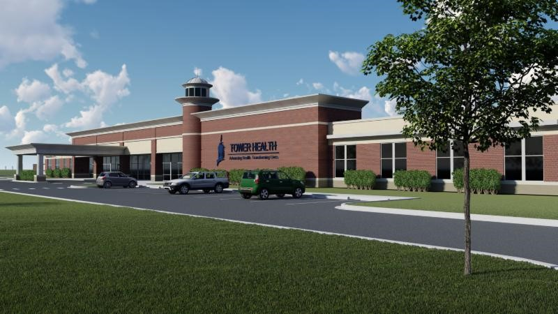 An architectural rendering of the behavioral health hospital that Tower Health and Acadia Healthcare say they will build in Berks County, near Reading.