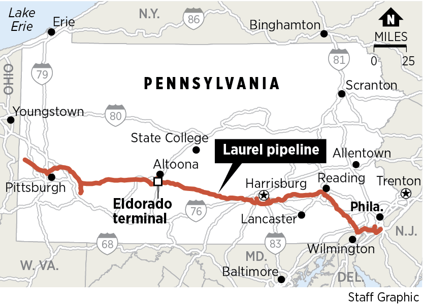 Buckeye Partners has proposed to change the westerly flow of the Laurel pipeline flow at Altoona, and reverse the western portion to flow eastward to transport fuel from the Midwest.