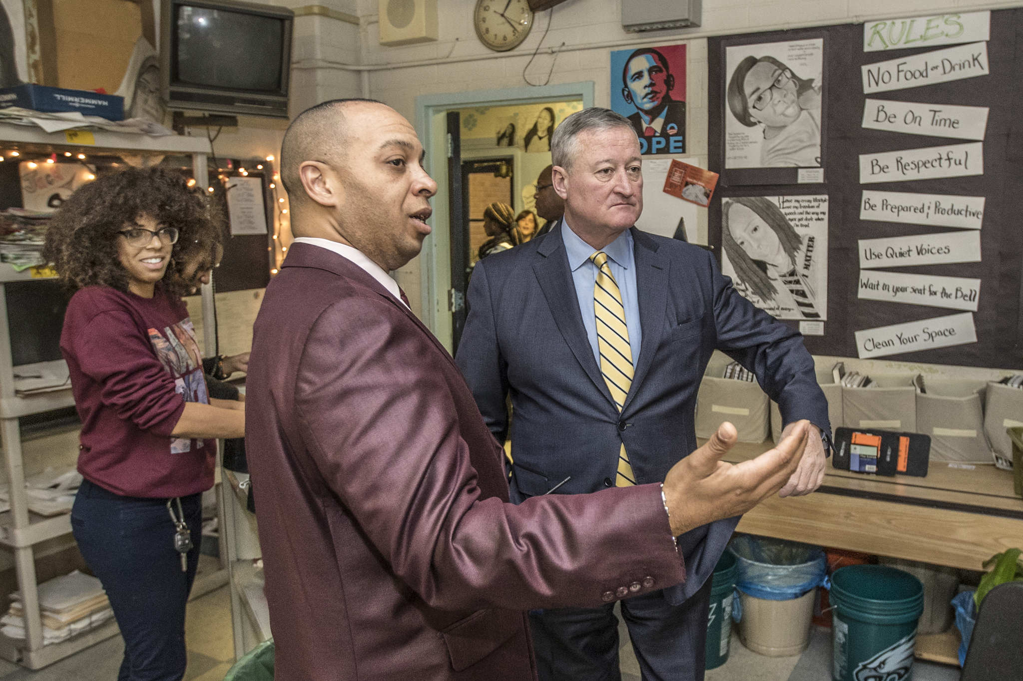 Paul Robeson High School principal Richard M. Gordon IV, (left) gives Philadelphia Mayor Jim Kenney, a tour of the schools art classroom during his visit on Tuesday December 12, 2017. Paul Robeson High School was named the most improved school in the city earlier this year and Principal Richard M. Gordon, IV, was named the countryÕs top administrator by a national online education journal.