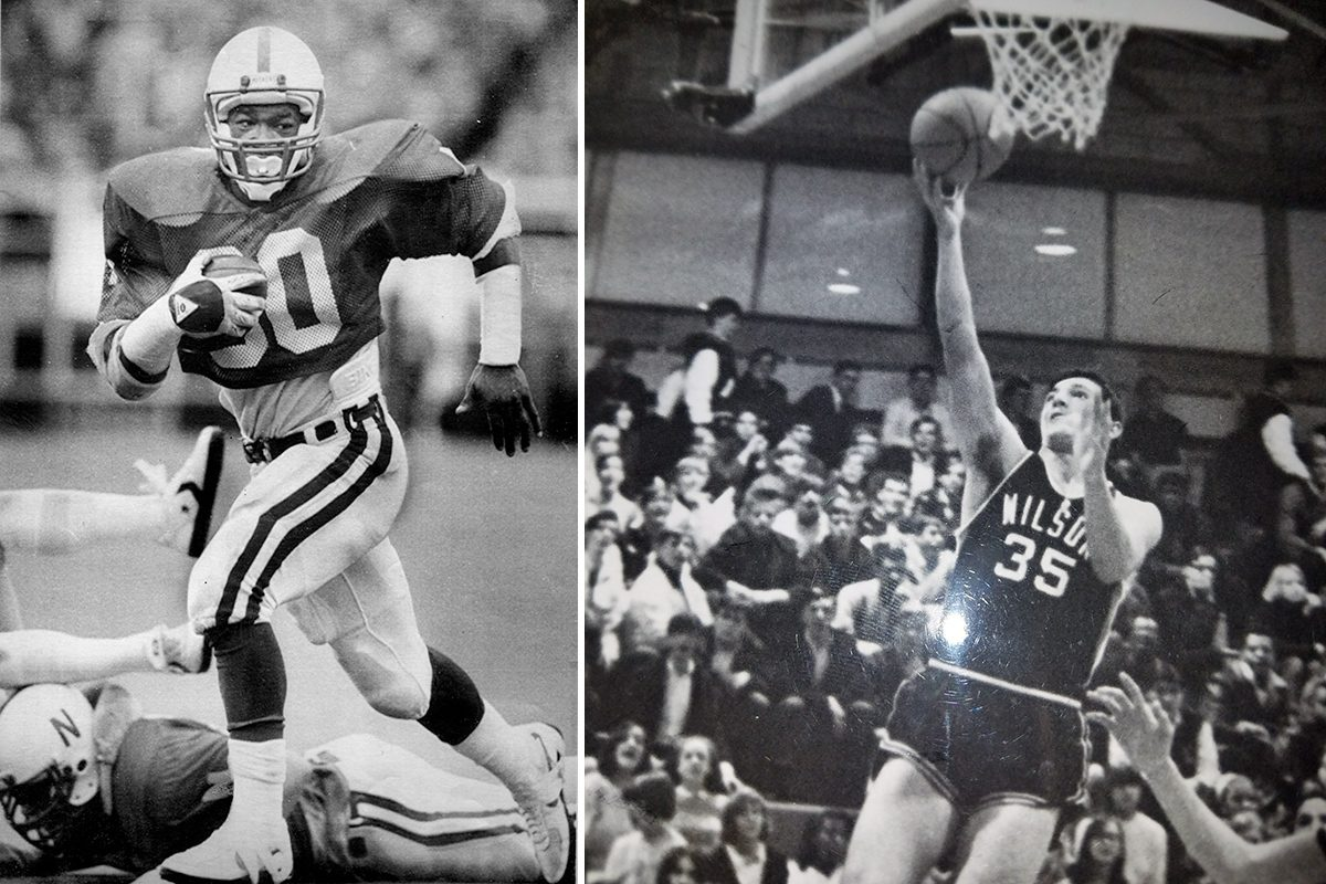 Mike Rozier, left, playing for Nebraska, and Mike Racobaldo, going up for a layup for Woodrow Wilson. AP and supplied photos