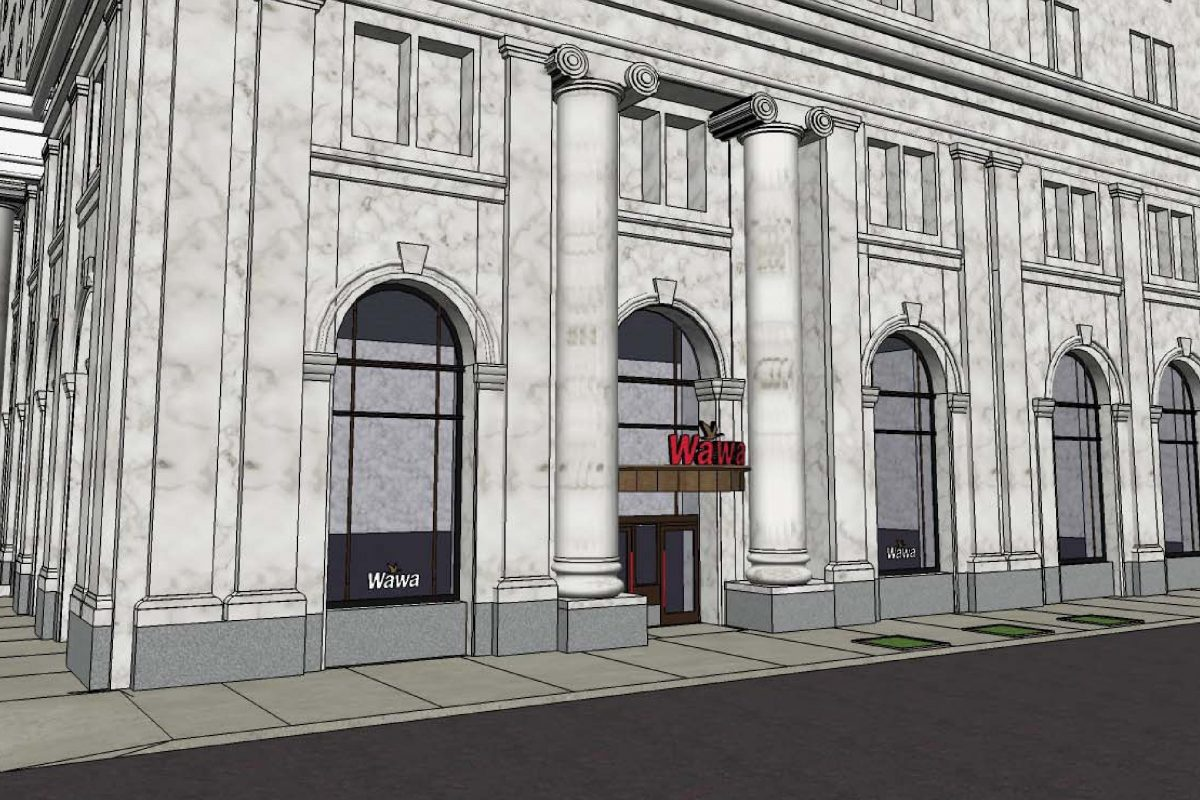 Artist´s rendering of Public Ledger building at corner of Sixth and Chestnut Streets with signs for planned Wawa store at the site.