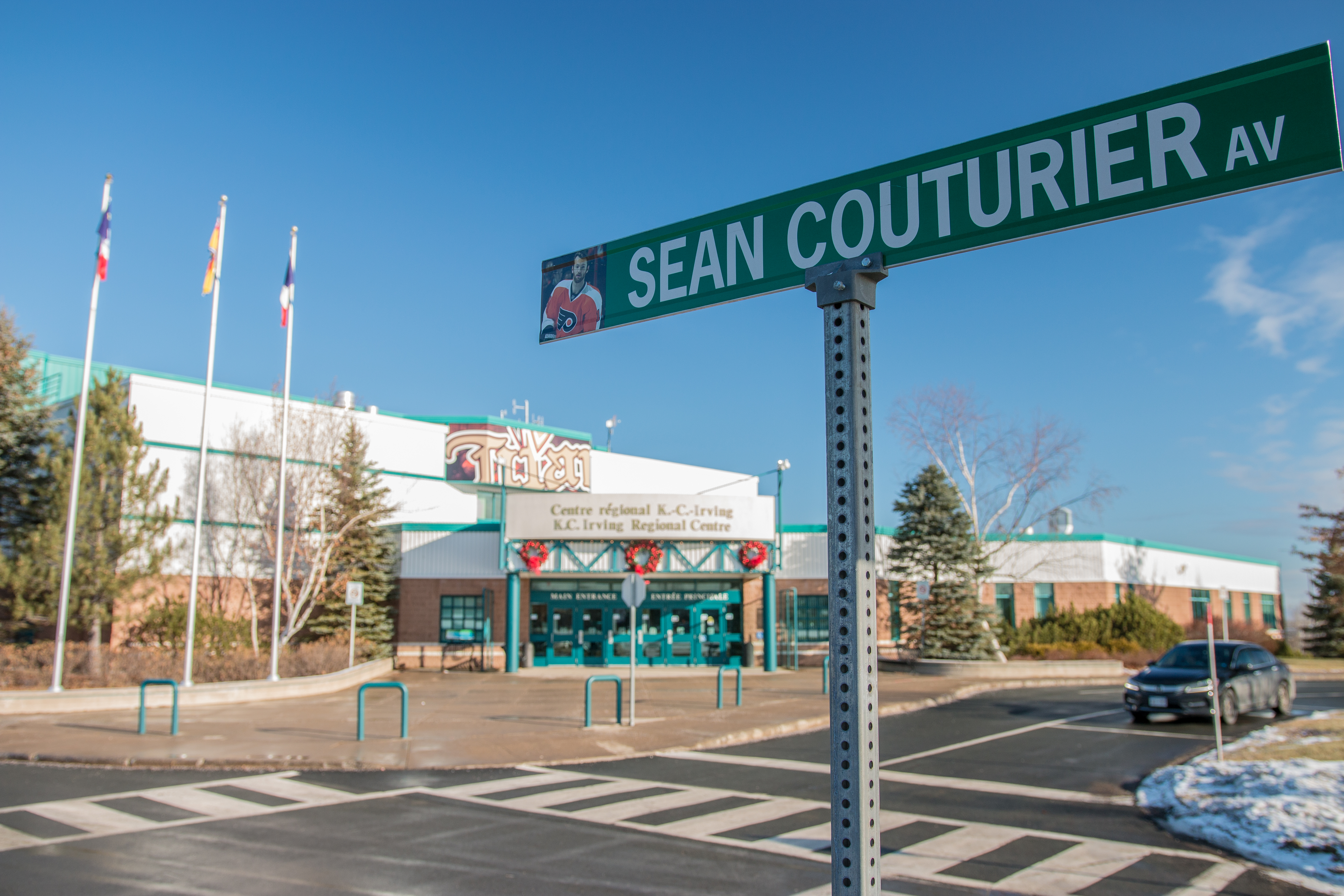 Last year the city of Bathurst N.B, where Sean Couturier grew up and played minor hockey, named the city road after him. The road leads to the K.C. Irving Regional Centre, home of the Acadie-Bathurst Titan.