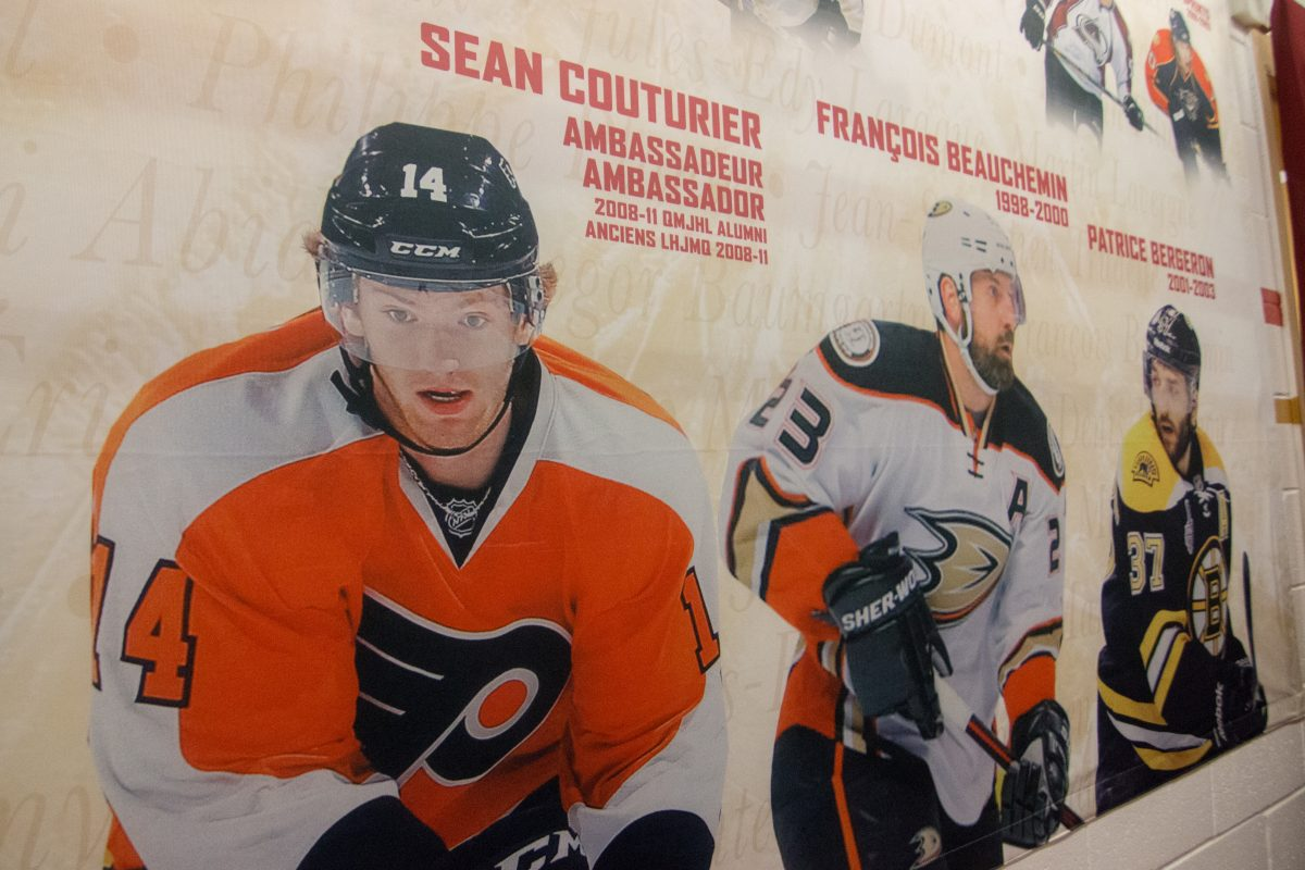 Sean Couturier featured on a mural in the Acadie-Bathurst Titan locker room.