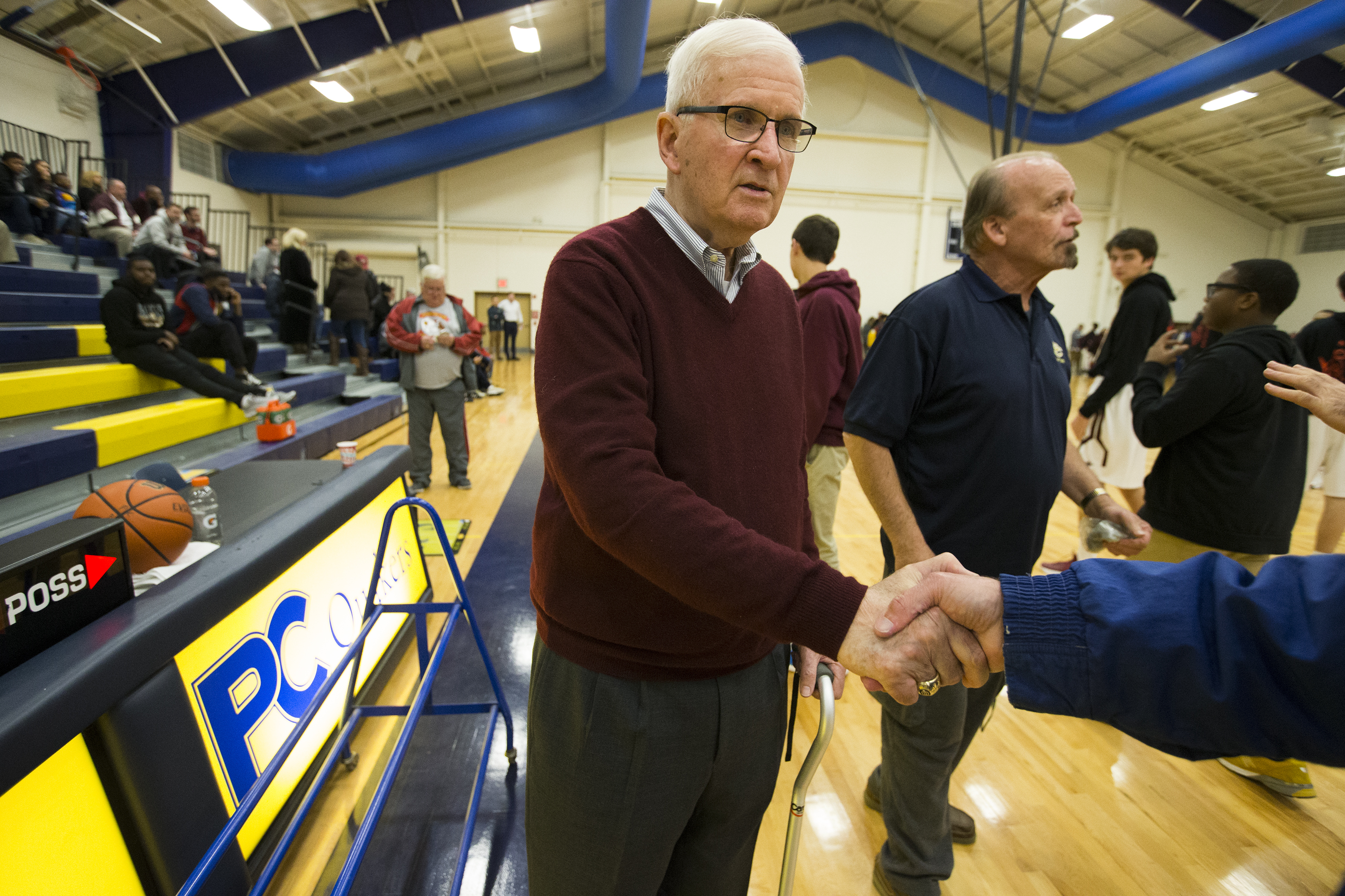 Speedy Morris, current St. Joseph's Prep coach, formerly coach at Roman Catholic High School, La Salle University women and La Salle University men. Over 20 active coaches either played for or coached under Morris. He is greeted before their game against Girard College on Dec. 8 , 2017. CHARLES FOX / Staff Photographer