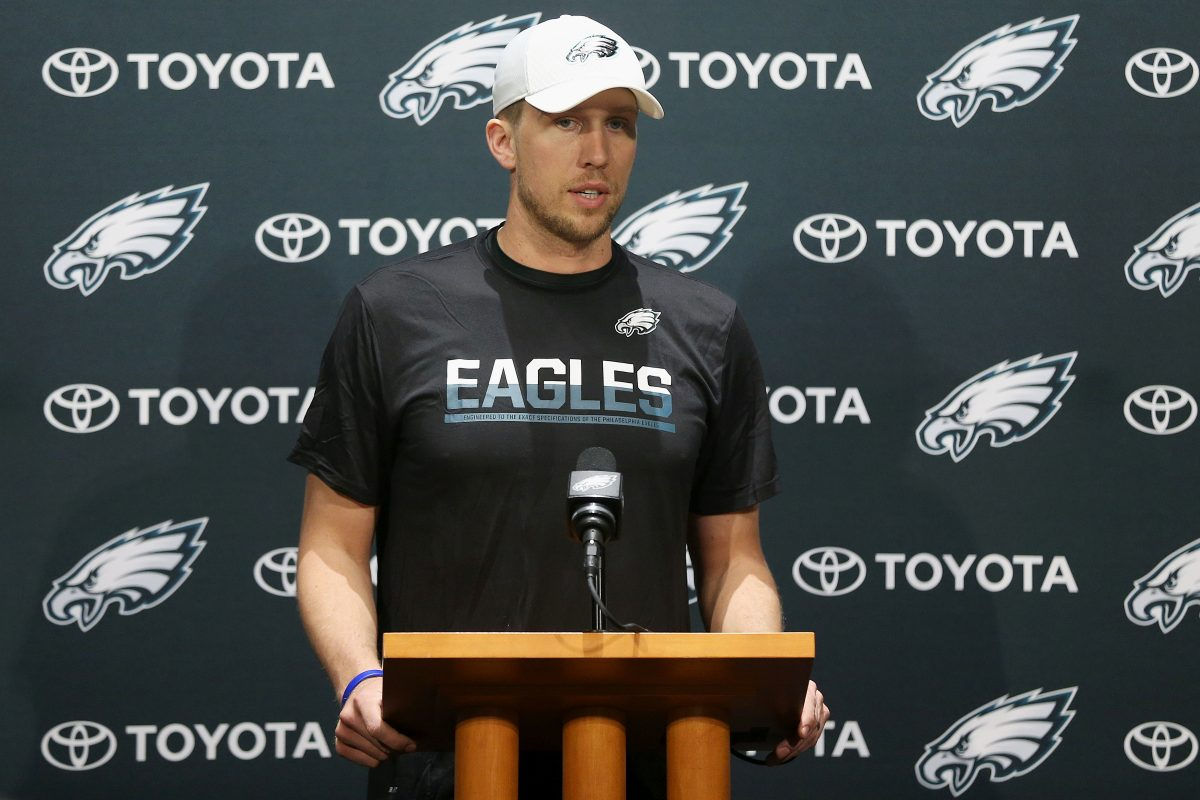 Quarterback Nick Foles speaks during a news conference at the Eagles´ NovaCare Complex on Tuesday, Dec. 12, 2017. TIM TAI / Staff Photographer
