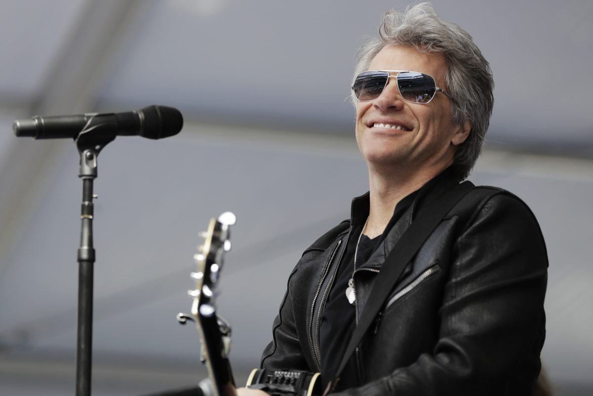 Musician Bon Jovi performs during a surprise appearance at the Fairleigh Dickinson University commencement ceremony, Tuesday, May 16, 2017, at MetLife Stadium in East Rutherford, N.J. His band Bon Jovi has been inducted into the Rock and Roll Hall Of Fame.