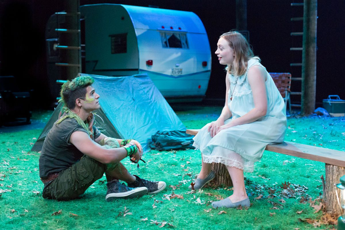 "Jo Vito Ramirez (left) as Peter and Emilie Krause as Wendy in ""Peter Pan,"" through Jan. 28 at Arden Theatre Company."