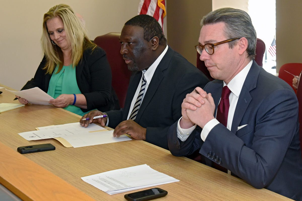 City Commissioners Lisa Deeley, Anthony Clark, and Al Schmidt (right). (File photo)
