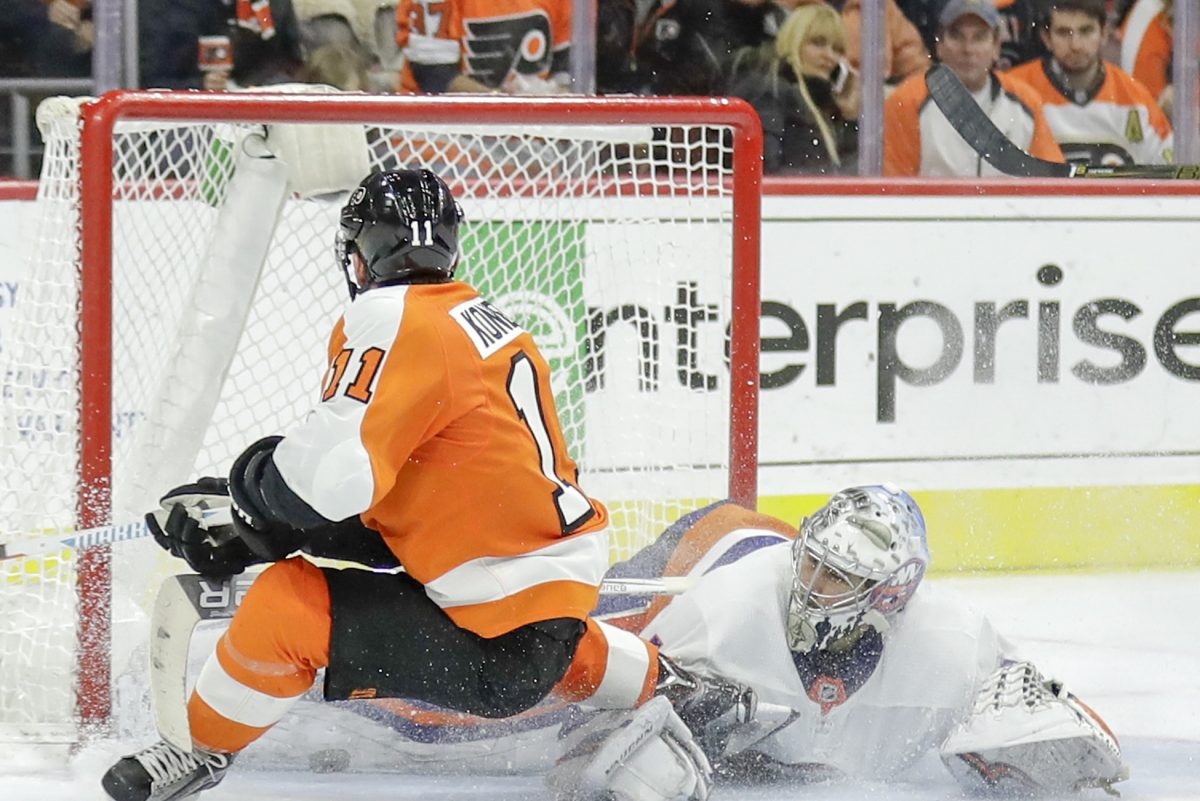 Travis Konecny, shown driving to the net in a game last month against the Islanders, keyed the Flyers' 4-2 comeback win over Toronto on Tuesday.