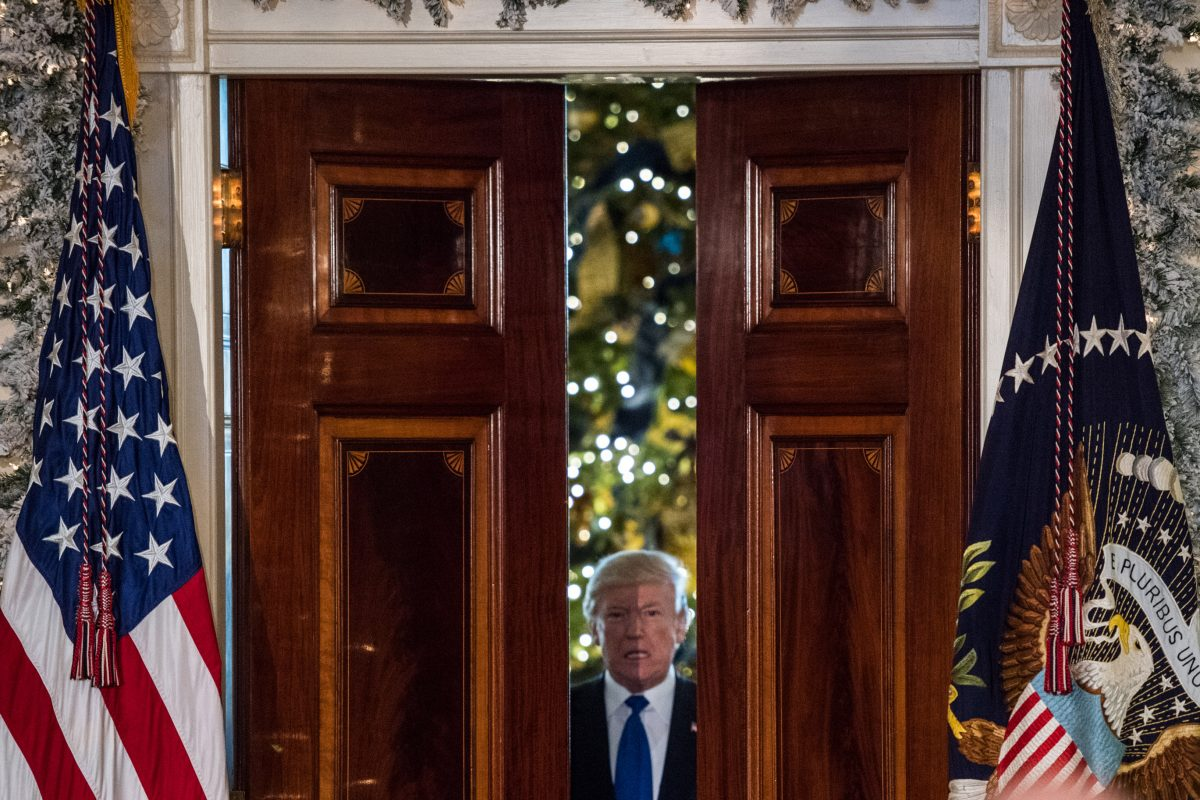 President Trump enters the Grand Foyer of the White House before making remarks on tax reform on Wednesday in Washington, D.C.