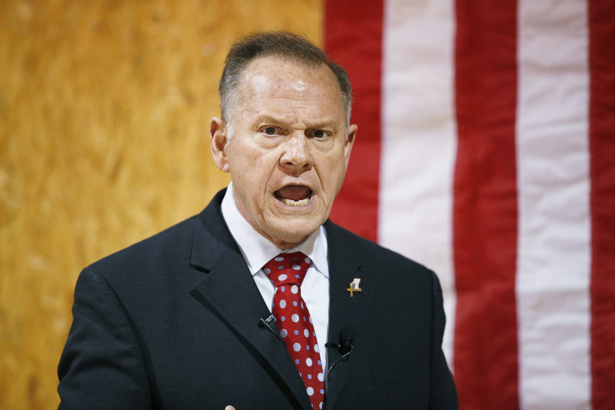 In this Nov. 30, 2017 file photo, former Alabama Chief Justice and U.S. Senate candidate Roy Moore speaks at a campaign rally, in Dora, Ala. Most statewide Republican officeholders in Alabama say they´re voting for Moore for U.S. Senate, but the state´s senior U.S. Sen. Richard Shelby didn´t vote for Moore. Polls show Moore in a tight race with Democrat Doug Jones.