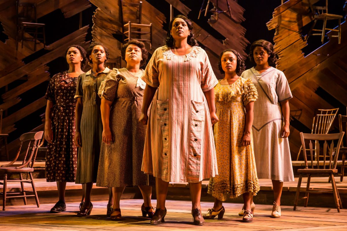 """Carrie Compere (center) and cast of """"The Color Purple,"""" through Dec. 17 at the Forrest Theatre."""
