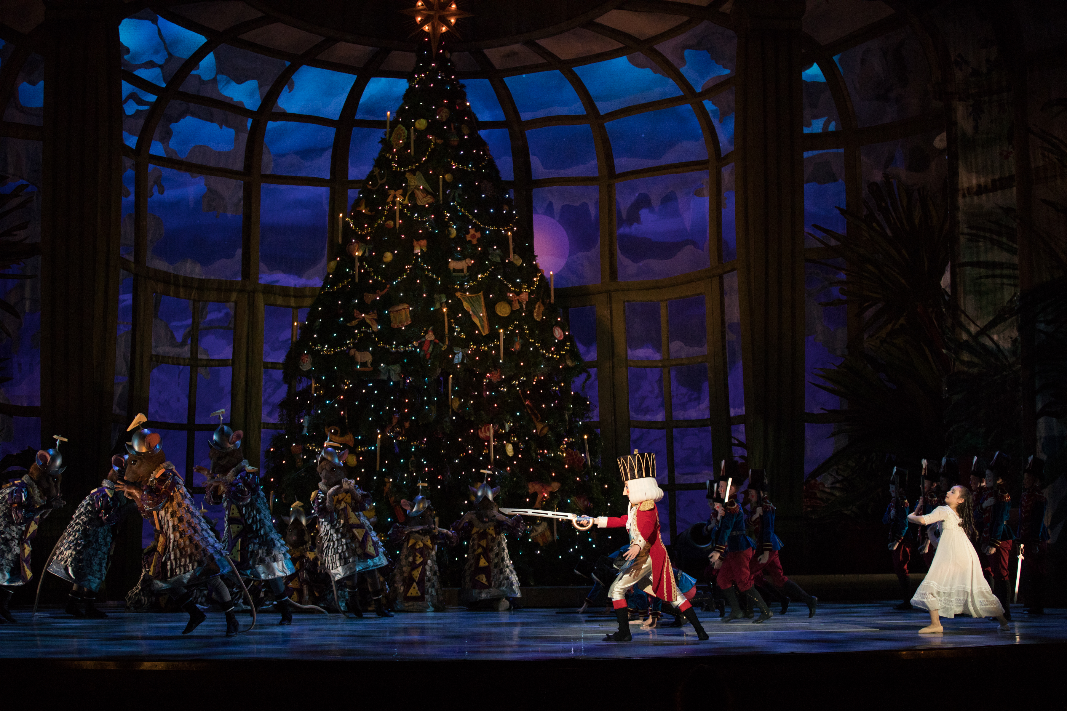 """The Nutcraker Prince battling the mice in the Pennsylvania Ballet """"Nutcracker."""" If you see a rodent in toe shoes, that would be a Nutty Nutcracker joke. (ROSALIE O´CONNOR)"""