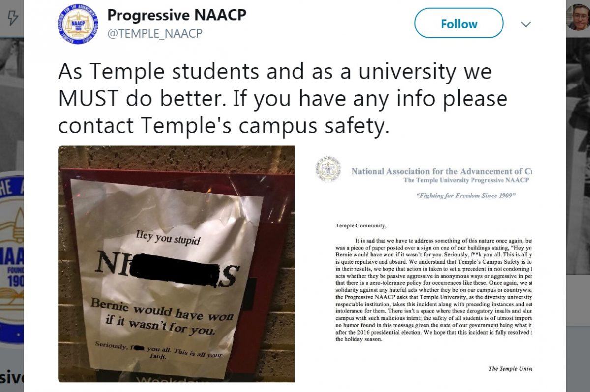 The Temple University Progressive NAACP was one of several campus groups to respond to racist flyers posted around the university this week.