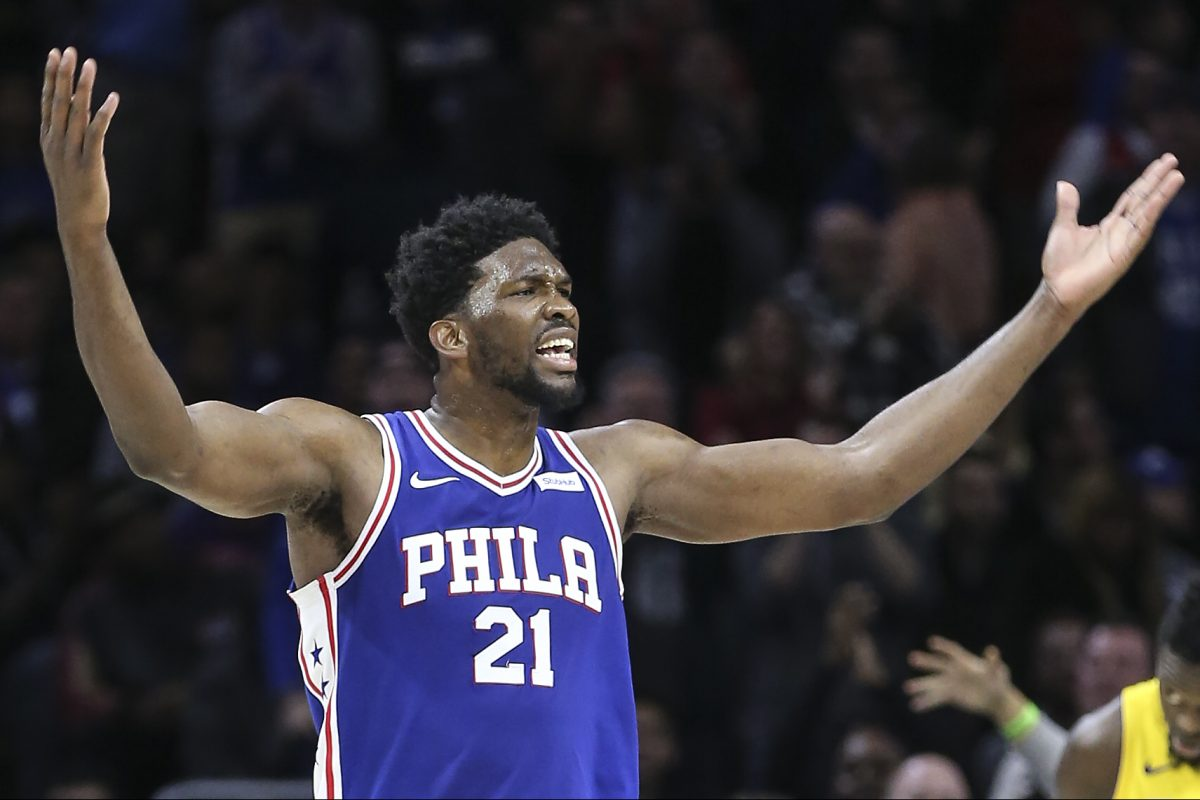 Sixers´ Joel Embiid tries to get the fans involved against the Lakers during the 4th quarter at the Wells Fargo Center in Philadelphia, Thursday, December 7, 2017. Lakes beat the Sixers 107-104 STEVEN M. FALK / Staff Photographer