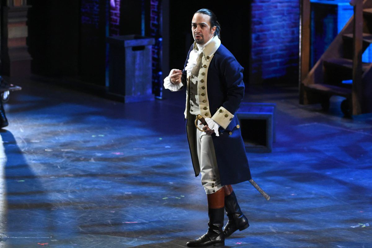 "Lin-Manuel Miranda of ""Hamilton"" performs at the Tony Awards at the Beacon Theatre on Sunday, June 12, 2016, in New York."