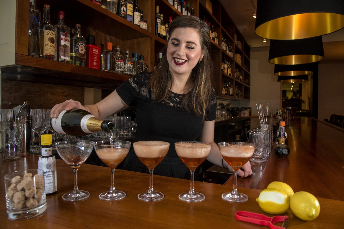 Bartender Alison Hangen, 26, prepares champagne cocktails at Oloroso restaurant.